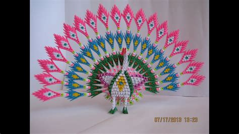 3d origami paper 3d origami peacock with 19 tails 1538 pieces
