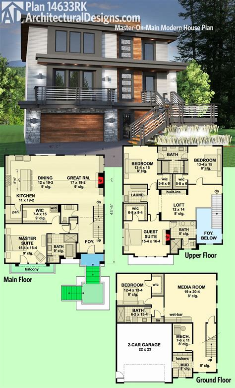 contemporary house designs and floor plans plan 14633rk master on modern house plan modern