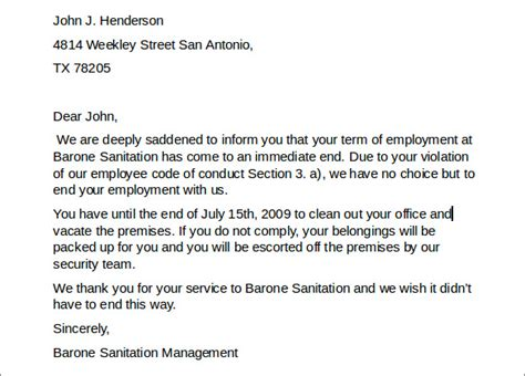 letter of termination of employment 7 employment termination letters sle templates 11458