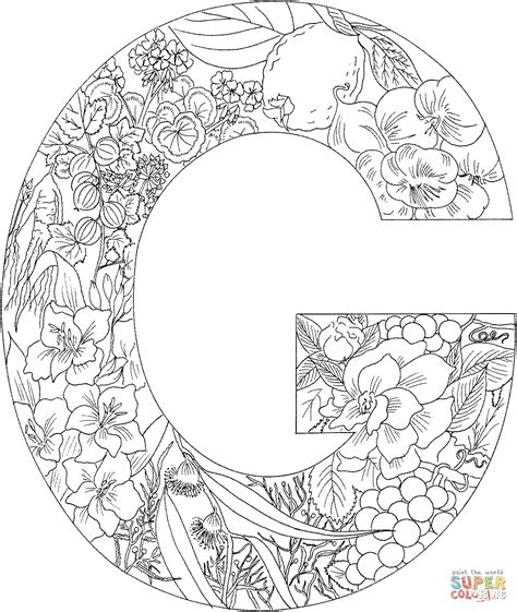 Letter G Coloring Page Letter G With Plants Coloring Page Free Printable