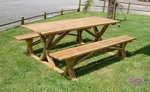 Table Picnic Bois Pas Cher : table en bois avec banc exterieur affordable table banc with table en bois avec banc exterieur ~ Melissatoandfro.com Idées de Décoration