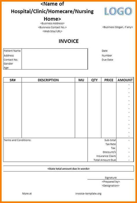 medical bills format  word sample travel bill