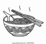 Noodles Ramen Sketch Vector Cartoon Bowl Drawn Illustration Hand Background Shutterstock Isolated sketch template