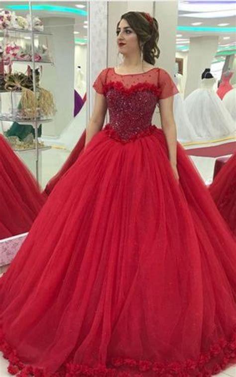Modest Cap Sleeves Tulle Flower Ball Gown #prom #promdress ...