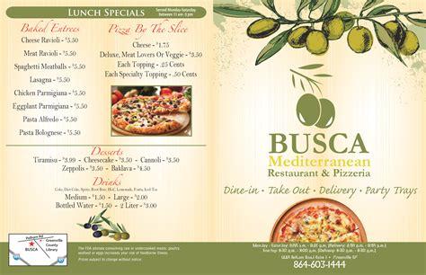 busca mediterranean restaurant pizzeria menu