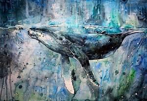 animals artwork paint splatter painting watercolor whale