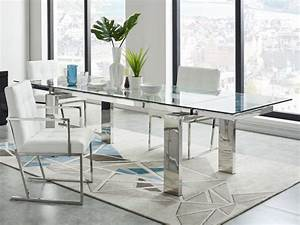 table a manger extensible lubana verre trempe metal With table sejour en verre