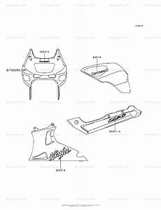 Kawasaki Motorcycle 1997 Oem Parts Diagram For Decals Red