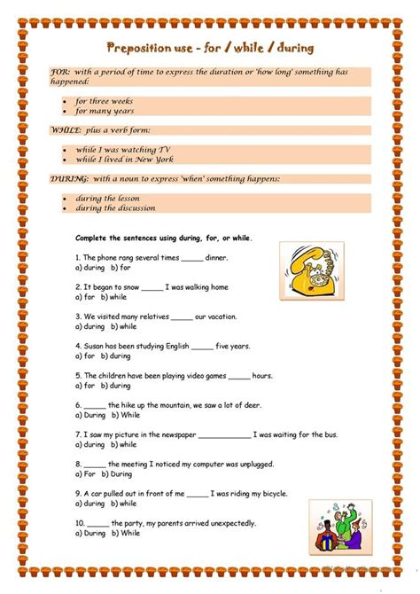 For During Or While Worksheet  Free Esl Printable Worksheets Made By Teachers