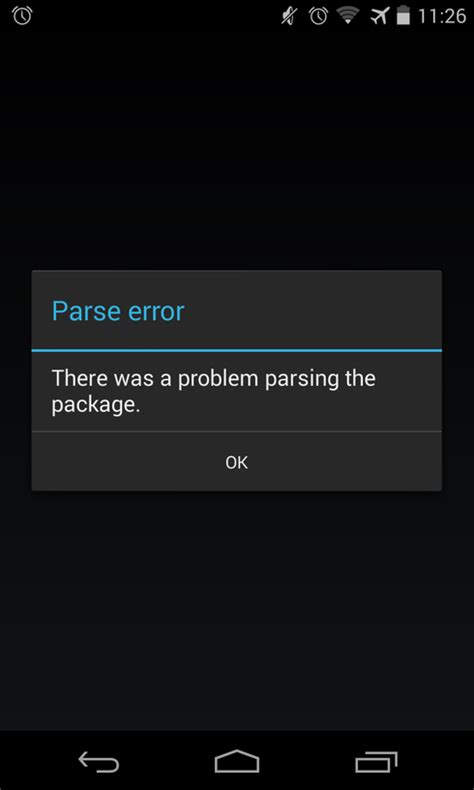how to fix parse error quot there was a problem parsing the package quot appslova