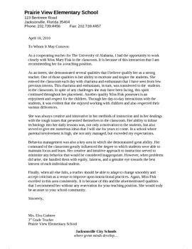 letter  recommendation   intern preschool ideas