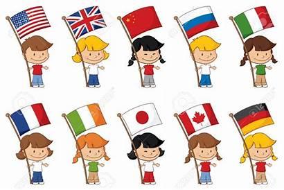 Flags Clipart Holding Children Cartoon Around Vector