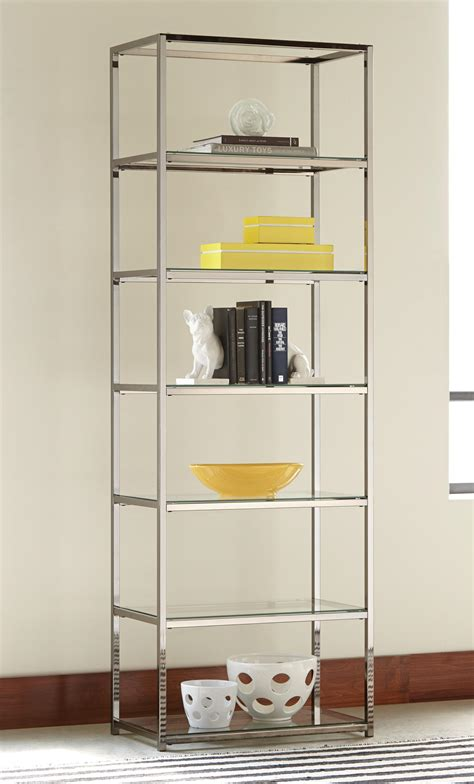 bookcases contemporary metal bookcase glass shelves