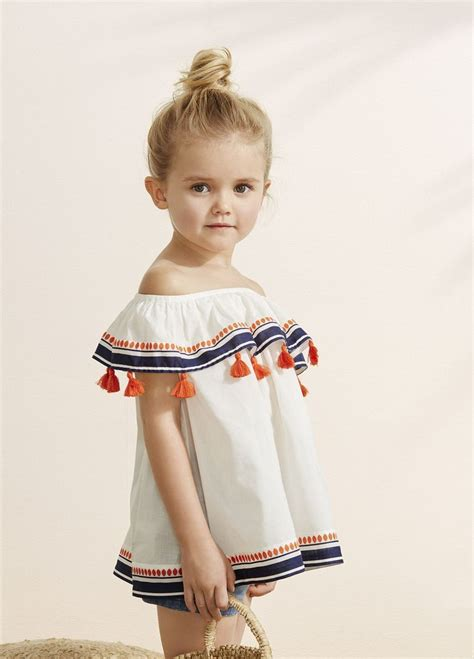 Adorable off the shoulder top with tassels for little girls #kid #fashion | Biancau0026#39;s dream ...