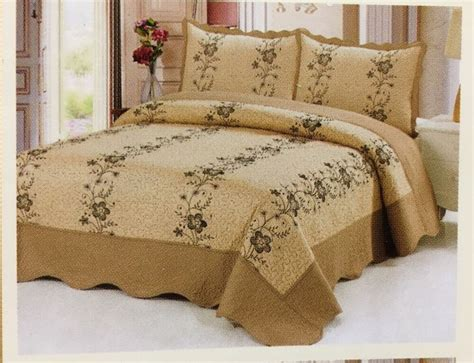 Gold Coverlet by 3 Pc Gold Quilt Floral Embroidery Bedspread Size