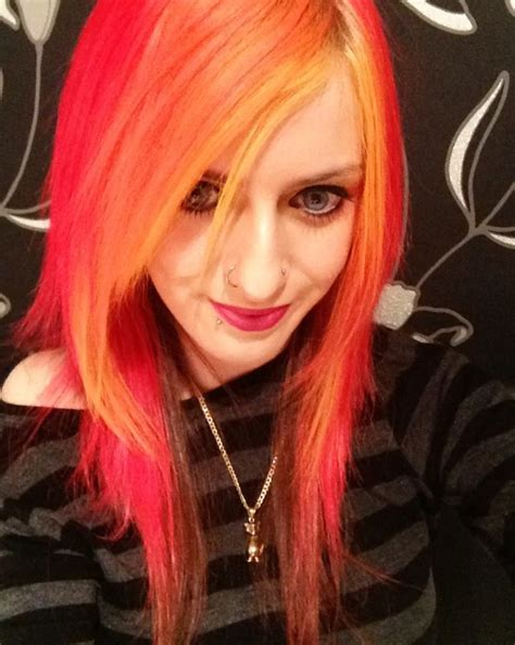 Bright Neon Yellow Orange And Red Hair Hair Pinterest