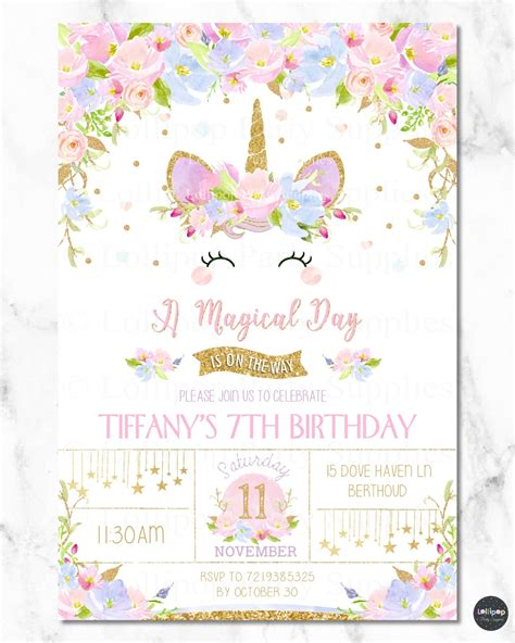 pink blue floral unicorn personalised invitation st