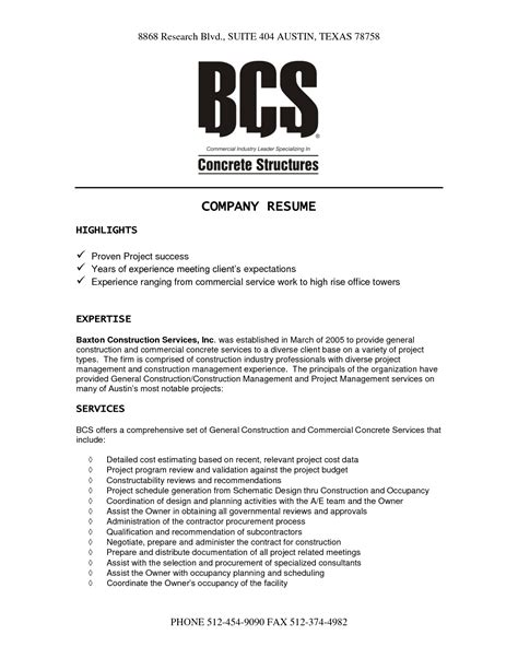 It Company Resume Format by Construction Company Resume Template Resume Template 2017