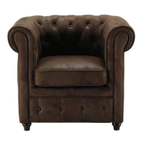 canapé repose pied fauteuil capitonné en microfibre marron chesterfield