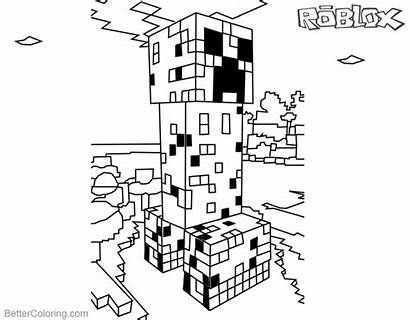 Creeper Minecraft Coloring Pages Roblox Printable Bettercoloring