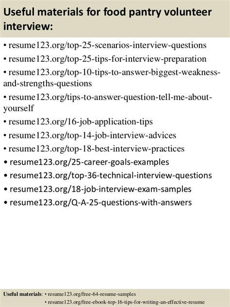 top 8 food pantry volunteer resume sles