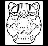 Mayan Aztec Masks Mask Maya Jaguar Coloring Google Pages sketch template