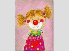 Pepina Clown Mädchen Serie Pastellbilder Fröhliche Freunde