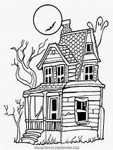 Coloring Halloween Haunted Realistic Adults Drawing Bing sketch template