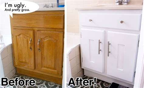 Cheap Bathroom Ideas Makeover Diy Bathroom Vanity Cabinet Makeover Vanity What A Dumb Word For That Janky Cabinet Your