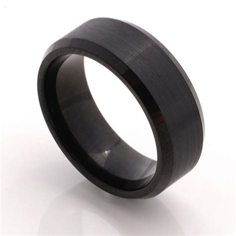 matte black mens wedding band mm mens ring tungsten