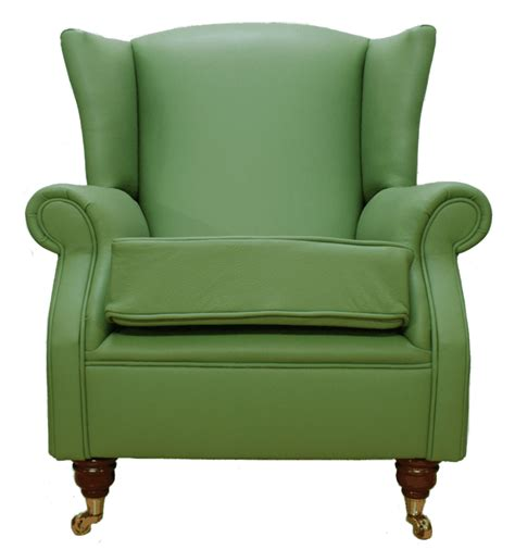 wing chair fireside high back leather armchair apple green