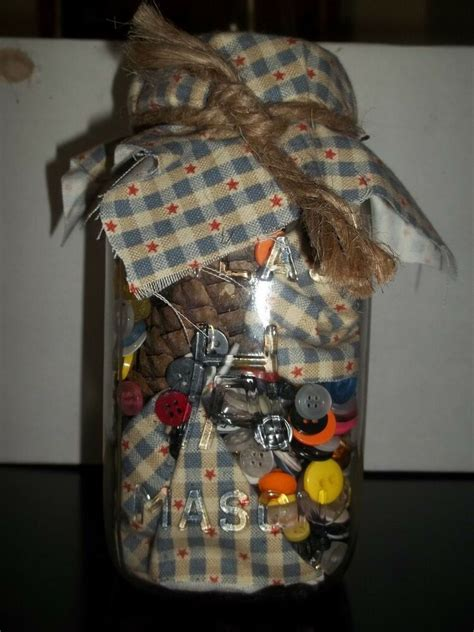 decorating jars with fabric primitive decor jar with fabric and buttons ebay