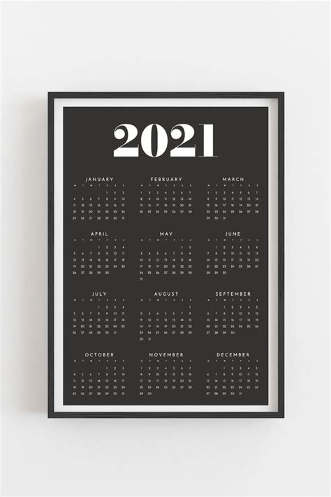 printable calendar  yearly wall calendar year