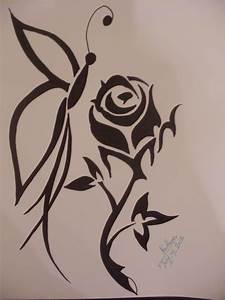 Tribal Butterfly And Rose Flower Drawing - kawthar © 2019 ...