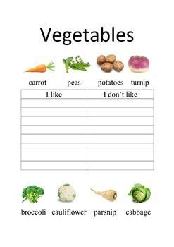 esl vegetables worksheets    dont