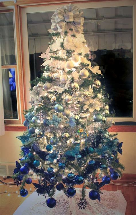 ombre white  royal blue christmas tree christmas