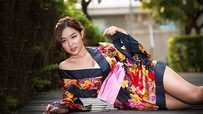 Asian Kimono Woman Spring Lady Portrait Beauty