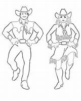Coloring Dance Dancers Western Sheets Square Dancingcowgirldesign Theme sketch template