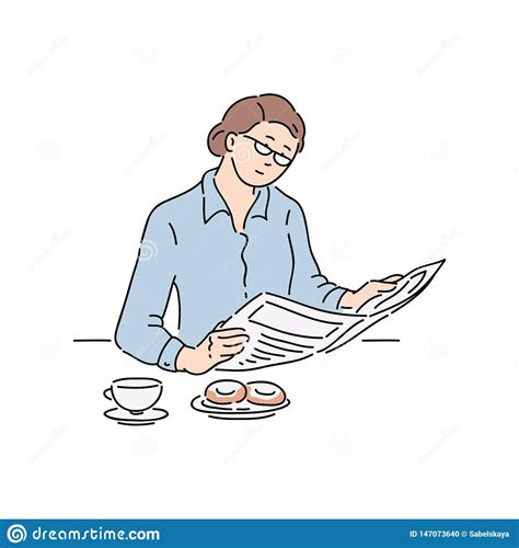 Woman Reading Newspaper Article Stock Vector