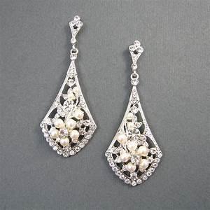 vintage style bridal earrings ivory pearl wedding earrings With wedding ring earrings
