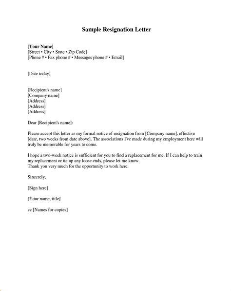 Formal Format Of Resignation Letter by Resignation Letter Sles Pdf Doc Format