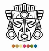 Mask Mayan Aztec Masks Coloring African Mexican Inca Indian Demons Sleeve Atzec Symbols Drawings Printable Mexico Tribal Symbol Tattoo Peru sketch template