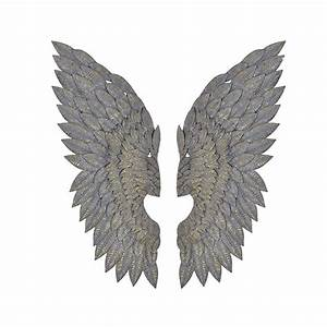 Feathered metal angel wings wall art by cowshed interiors