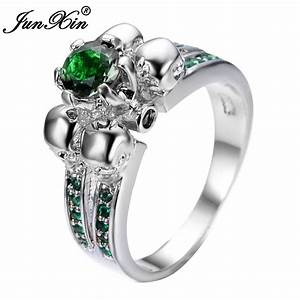 gorgeous green skull ring vintage wedding rings for women With bague femme