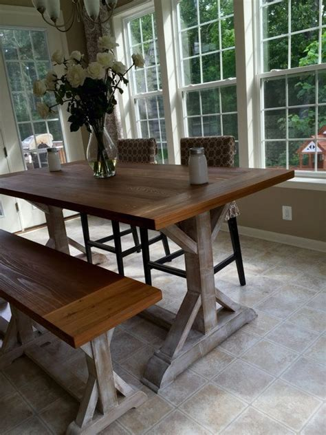 beautiful cypress counter height  leg farmhouse table