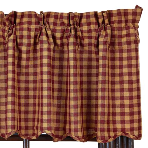burgundy valance check scalloped country curtain valance navy or burgundy available ebay