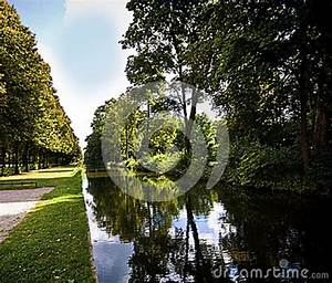 Germany, Bavaria, Park, Flanked, By, A, Channel, With, Still, Waters, Stock, Image