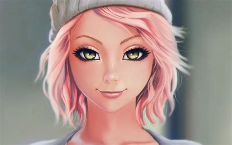 Beautiful pink haired fantasy girl, smile, hat wallpaper