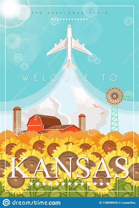 Kansas är En USA-stat Vektorbegrepp Av Den Turist ...