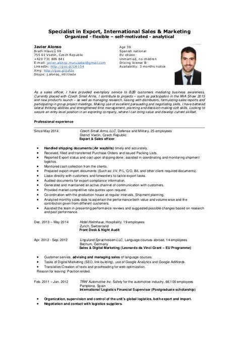 cv for sales template